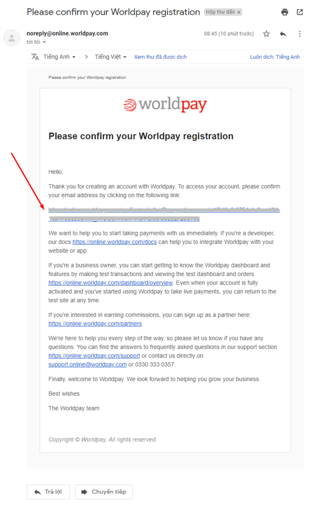 Confirm WordPay Registration email